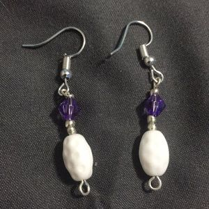 Handcrafted white and purple earrings